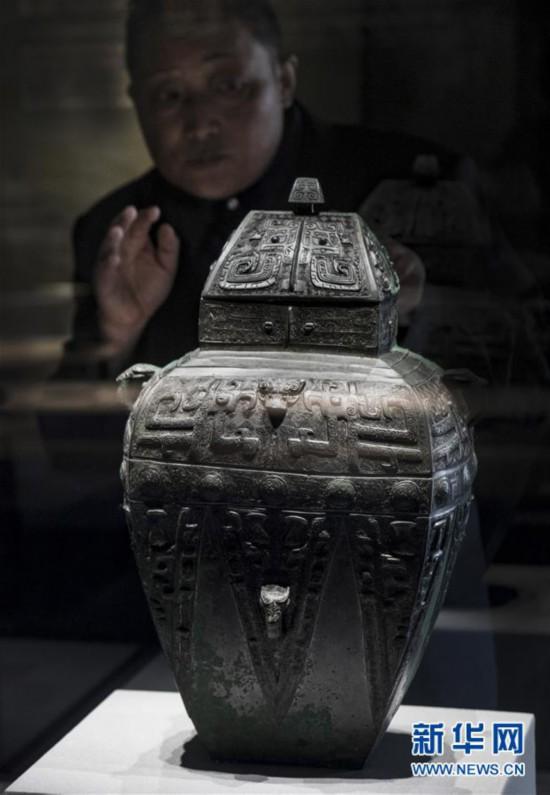 (文化)(2)国家一级文物商兽面纹方罍亮相陕西城固